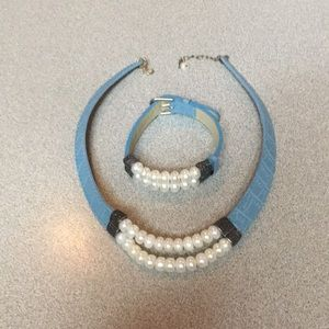 Jewelry - Pearl and leather necklace and bracelet